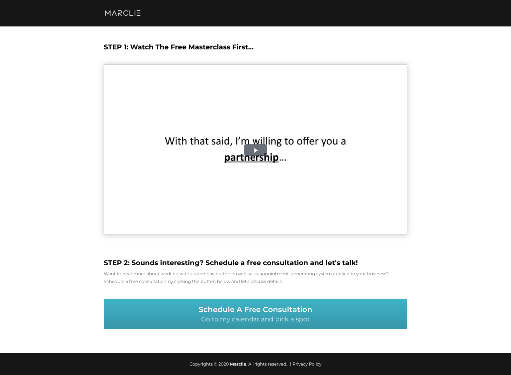video training page where you deliver video in order to generate leads online